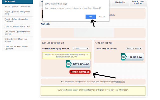 how to disable auto top up opal application