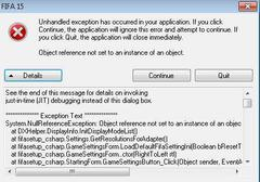 unhandled exception has occurred in your application fifa 15