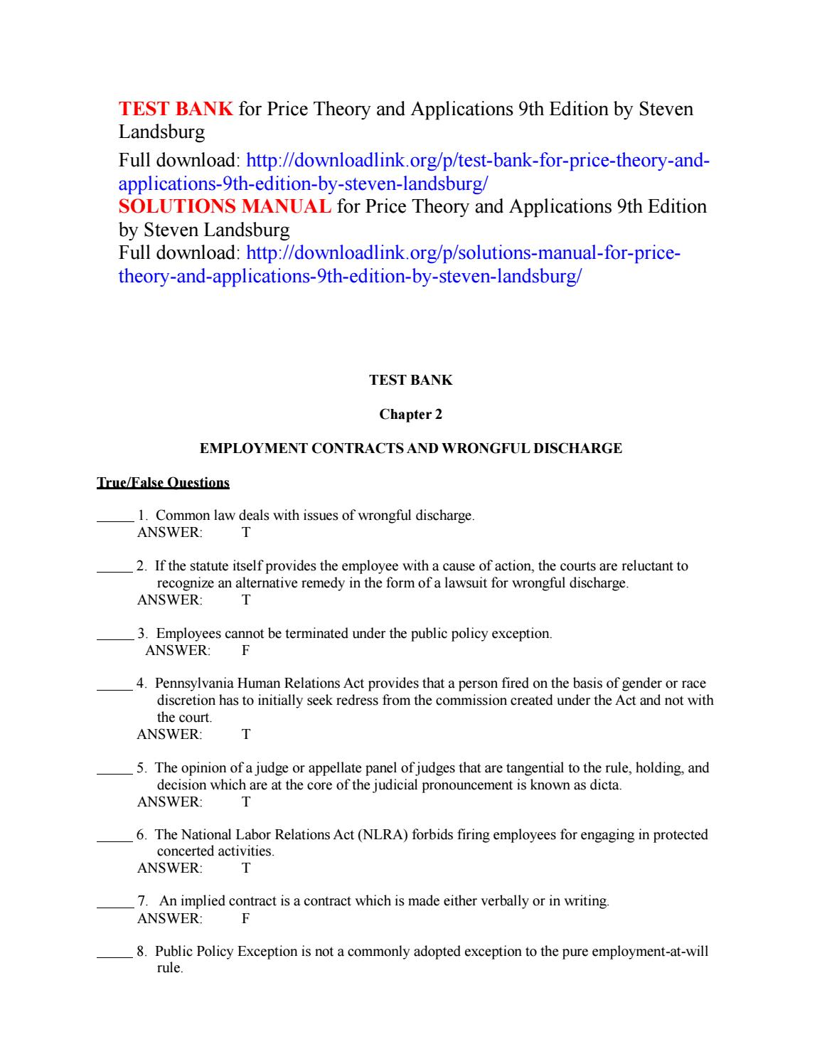 price theory and applications landsburg steven e 2014