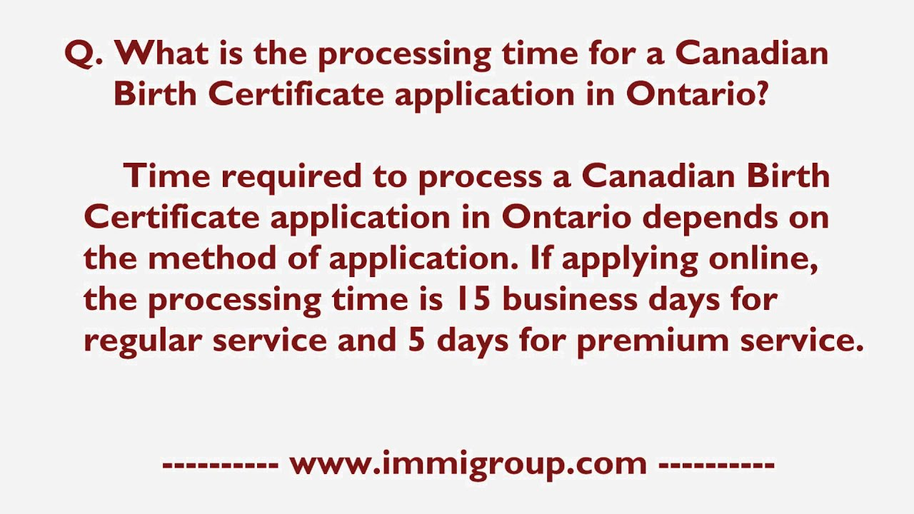 canada application processing time outside