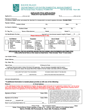 how to fill out application for duplicate title